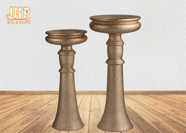 Decorative Frosted Gold Fiberglass Flower Bowls / Floor Vases With Pedestal