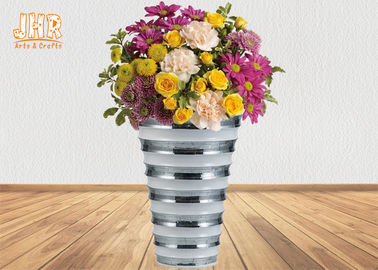 Decorative Wide Mouth Fiberglass Plant Pots With Silver Mosaic Glass Finish